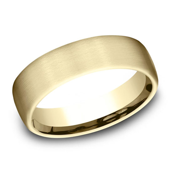 Satin Finish European Comfort Fit Band 18k Yellow Gold