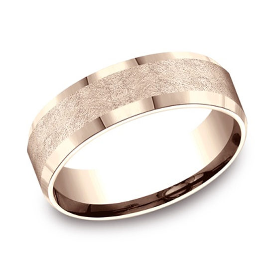 Swirl Fiberglass Finished Center Comfort Fit Band 14k Rose Gold