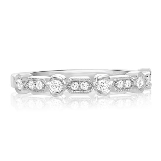 Delicate Diamond Deco Band 14k White Gold
