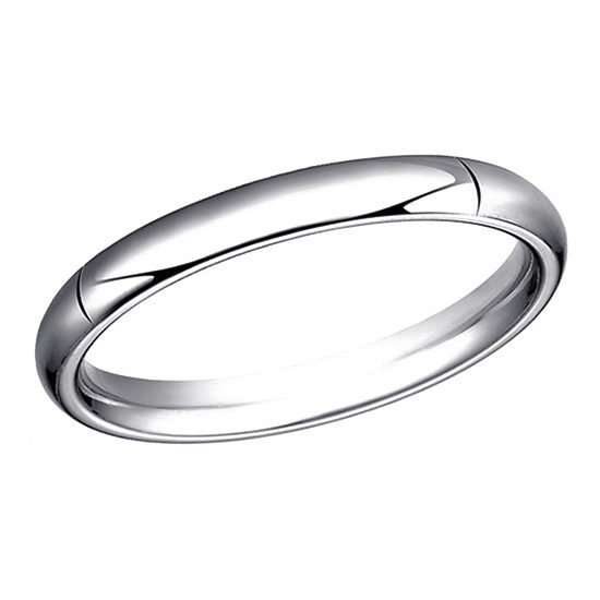 High Dome Comfort Fit Men's Wedding Band 18K White Gold