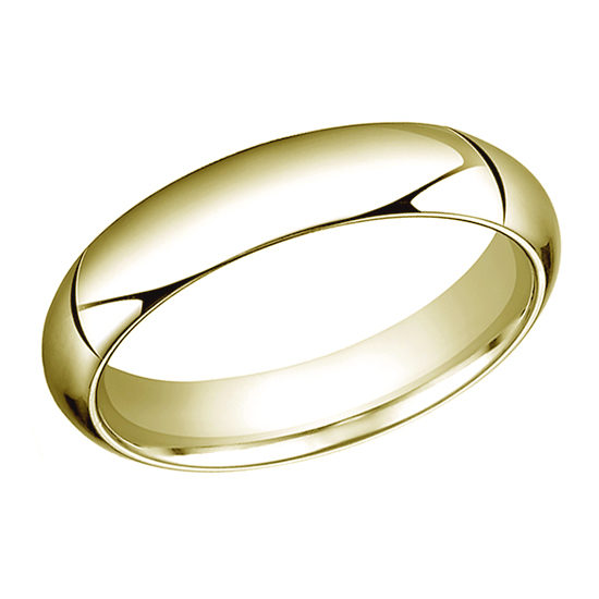 High Dome Comfort Fit Men's Wedding Band 18K Yellow Gold