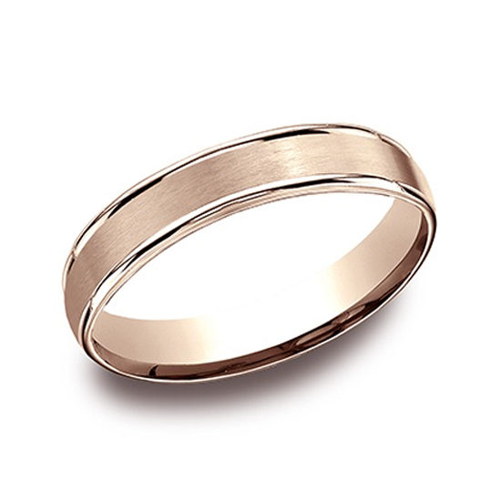 High Polished Lip Satin Band 14k Rose Gold
