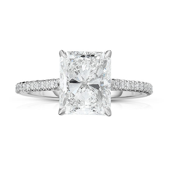 The DE Diamond Solitaire with Shoulders with a Radiant Cut Diamond | Marisa Perry by Douglas Elliott