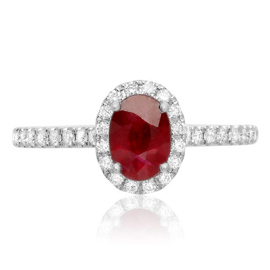 Oval Ruby Diamond Halo Ring