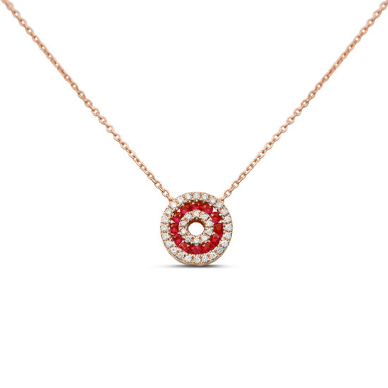Ruby & Diamond Open Circle Necklace 14k Rose Gold