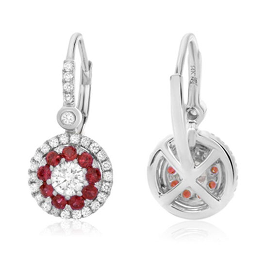 Ruby Halo Drop Earrings 14k White Gold