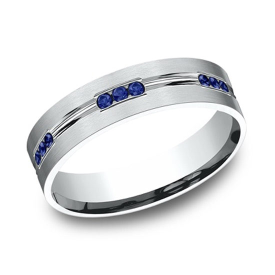 Comfort Fit Etched Channel Set Sapphire Eternity Band 14K White Gold