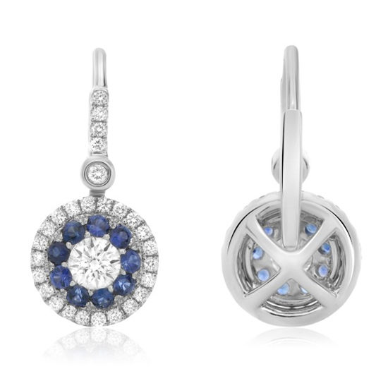 Blue Sapphire Halo Drop Earrings 14k White Gold