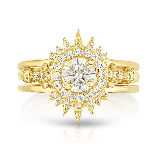 DE Vintage Reprise with Sunburst Divot Rings | Marisa Perry by Douglas Elliott