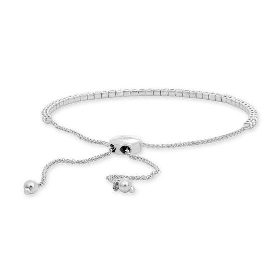White Diamond Bolo Tennis Bracelet 14k White Gold