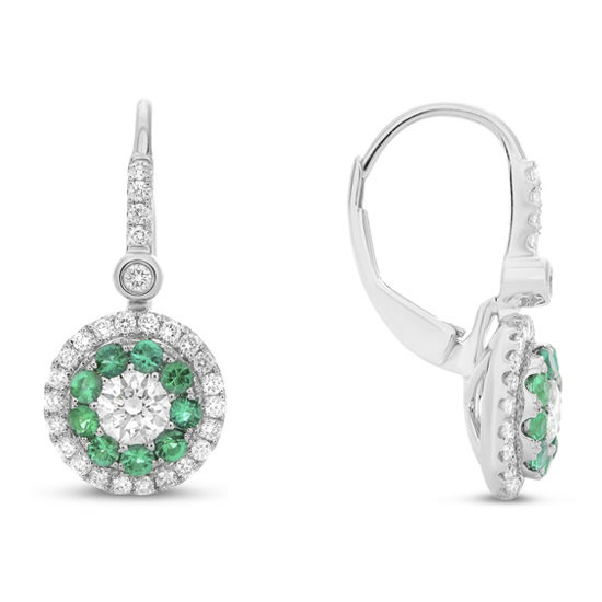Emerald Halo Drop Earrings 14k White Gold
