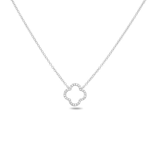 Quatrefoil Diamond Pave Necklace