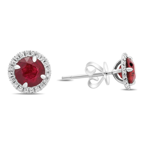 Round Ruby & Diamond Stud Earrings 18k White Gold