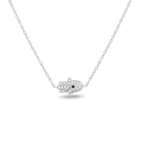Ruby & Diamond Hamsa Necklace 14k White Gold