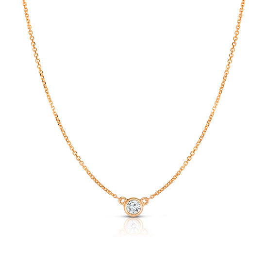 Bezel Set Diamond Solitaire Necklace 14k Rose Gold