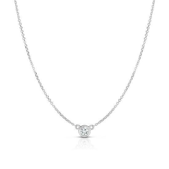 Bezel Set Diamond Solitaire Necklace 14k White Gold
