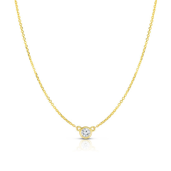 Bezel Set Diamond Solitaire Necklace 14k Yellow Gold