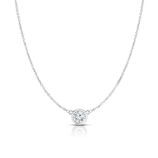 Bezel Set Diamond Solitaire Necklace 14k White Gold