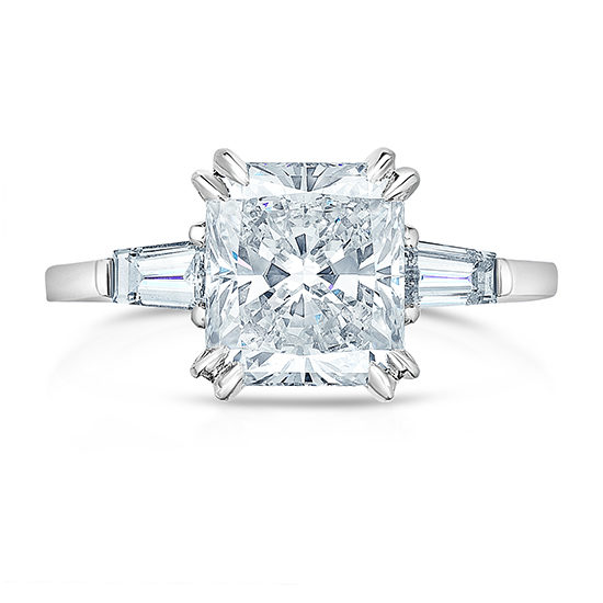 The Radiant Cut Diamond Sofie Ring with Tapered Baguettes | Marisa Perry by Douglas Elliott