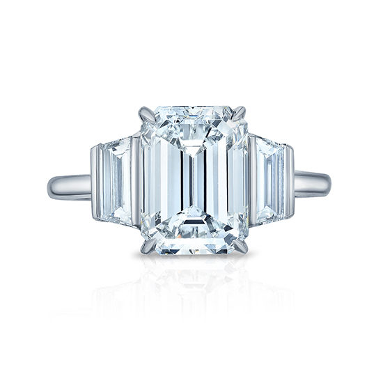 Emerald Cut Diamond Three Stone Ring With Trapezoids | Marisa Perry by Douglas Elliott