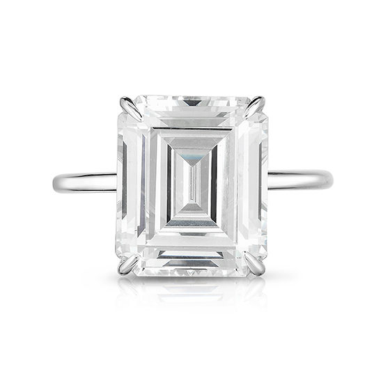 The Five Carat Emerald Cut DE Lite Setting Platinum | Marisa Perry by Douglas Elliott