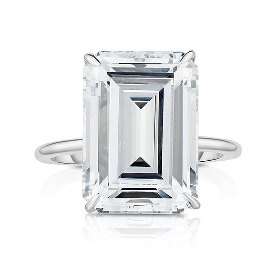 The Six Carat Emerald Cut DE Lite Setting Platinum | Marisa Perry by Douglas Elliott