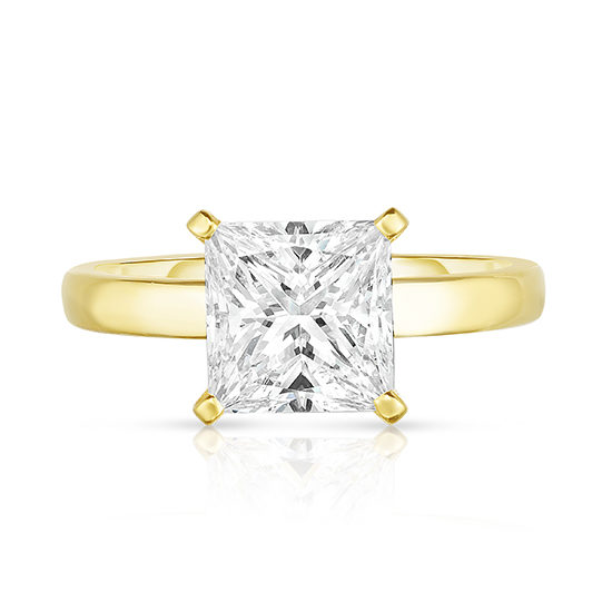 Two Carat Princess Cut Diamond Robin Setting 18k Yellow Gold | Marisa Perry by Douglas Elliott