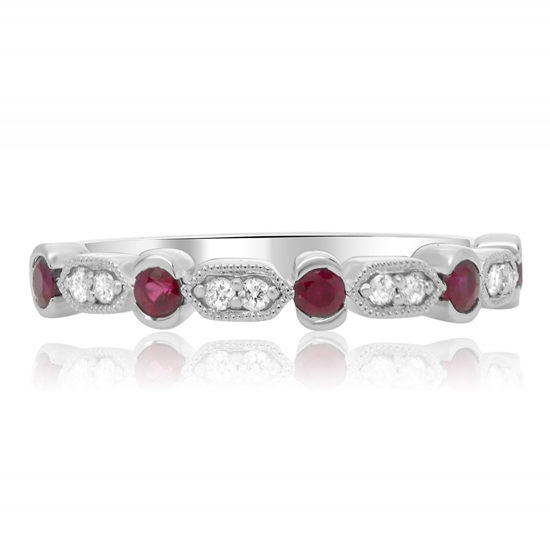 Ruby and Diamond Milgrain Band