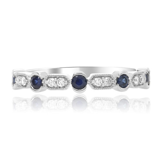 Sapphire and Diamond Milgrain Band