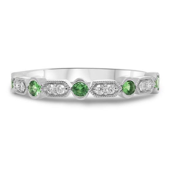 Tsavorite and Diamond Milgrain Band