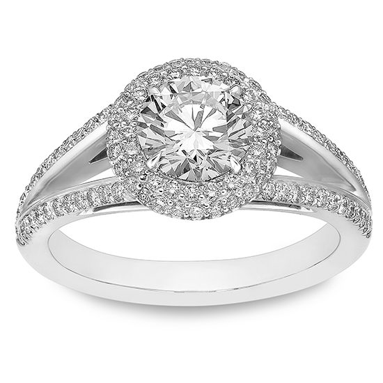 The Round Split Shank Double Halo Engagement Ring   Marisa Perry by Douglas Elliott