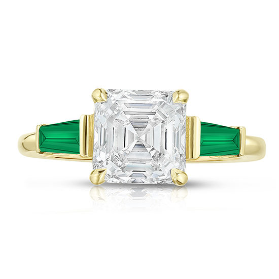 The Asscher Cut Three Stone Ring with Green Emerald Tapered Baguettes