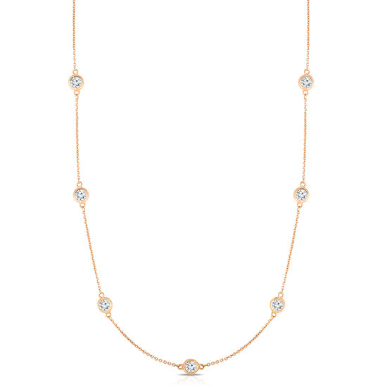 Bezel Set Diamond Necklace 14k Rose Gold