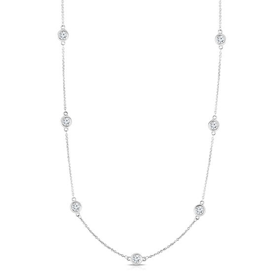 Bezel Set Diamond Necklace 14k White Gold