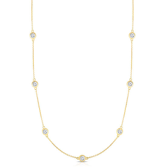 Bezel Set Diamond Necklace 14k Yellow Gold