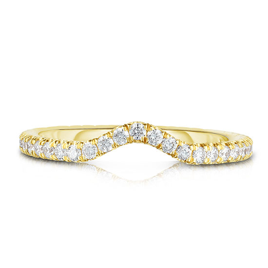 One Point Micro Pave Contour Band 18k Yellow Gold