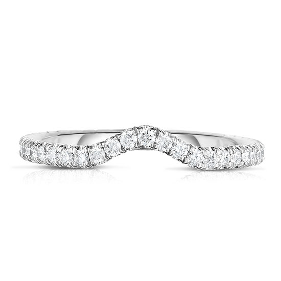 One Point Micro Pave Contour Band Platinum