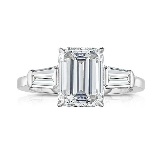 Three Stone 3.01 Carat Emerald Cut Diamond with Tapered Baguettes | Marisa Perry by Douglas Elliott