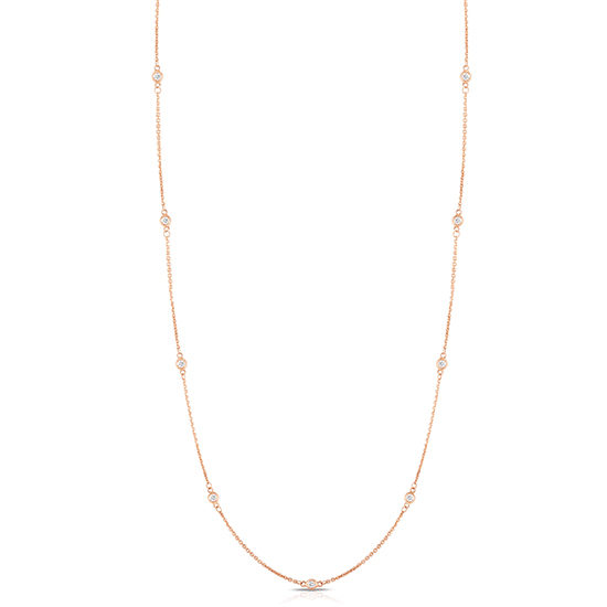 36 Inch Bezel Set Diamond Necklace 14k Rose Gold