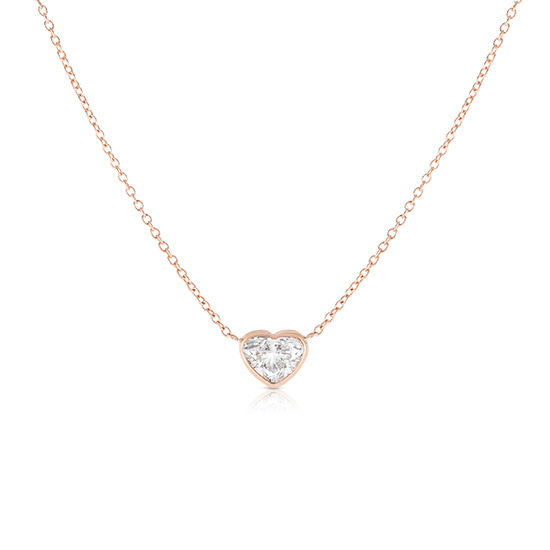 Bezel Set Heart Shape Diamond Solitaire Necklace 14k Rose Gold