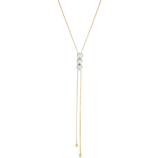 Triple Diamond Bolo Necklace 14k Two Tone Gold