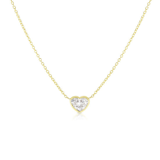 Bezel Set Heart Shape Diamond Solitaire Necklace 14k Yellow Gold
