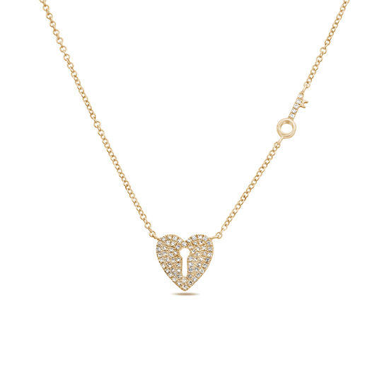 Heart Lock & Key Diamond Pave Necklace 14k Rose Gold