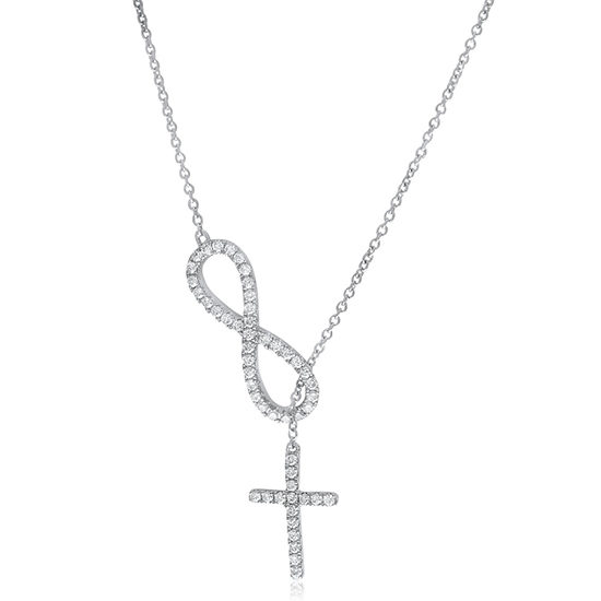 Diamond Infinity & Cross Lariat Necklace