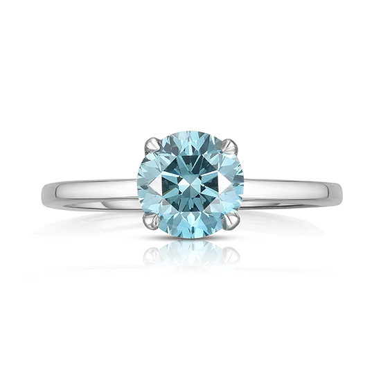 Round Brilliant Cut DE Solitaire with a Color Treated Blue Diamond | Marisa Perry by Douglas Elliott