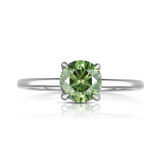 Round Brilliant Cut DE Solitaire with a Color Treated Green Diamond | Marisa Perry by Douglas Elliott
