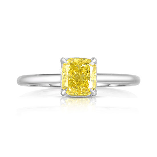 Cushion Cut DE Solitaire with a Color Treated Yellow Diamond | Marisa Perry by Douglas Elliott