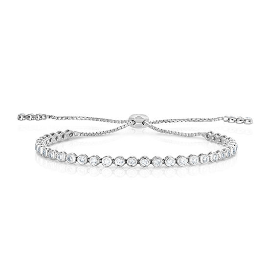 Bezel Set Diamond Bolo Bracelet 14k White Gold