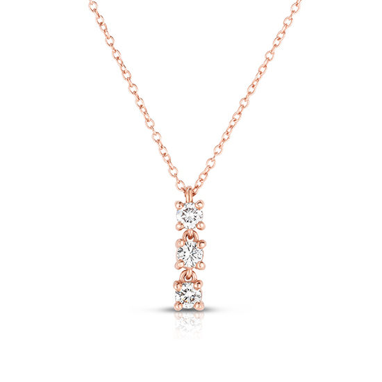 Triple Diamond Necklace 14k Rose Gold