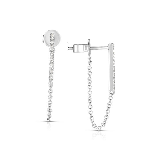 Bar and Chain White Gold and Diamond Earrings   Marisa Perry